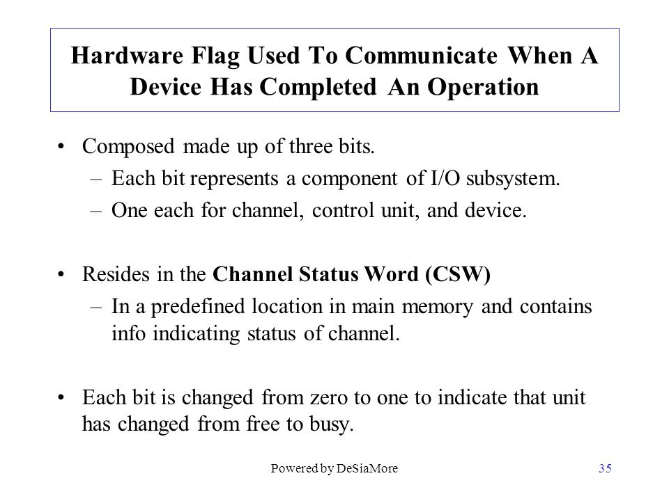 Hardware Flag Used To Communicate When A Device Has Completed An Operation