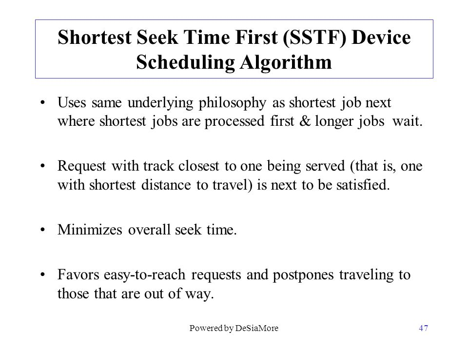 Shortest Seek Time First (SSTF) Device Scheduling Algorithm