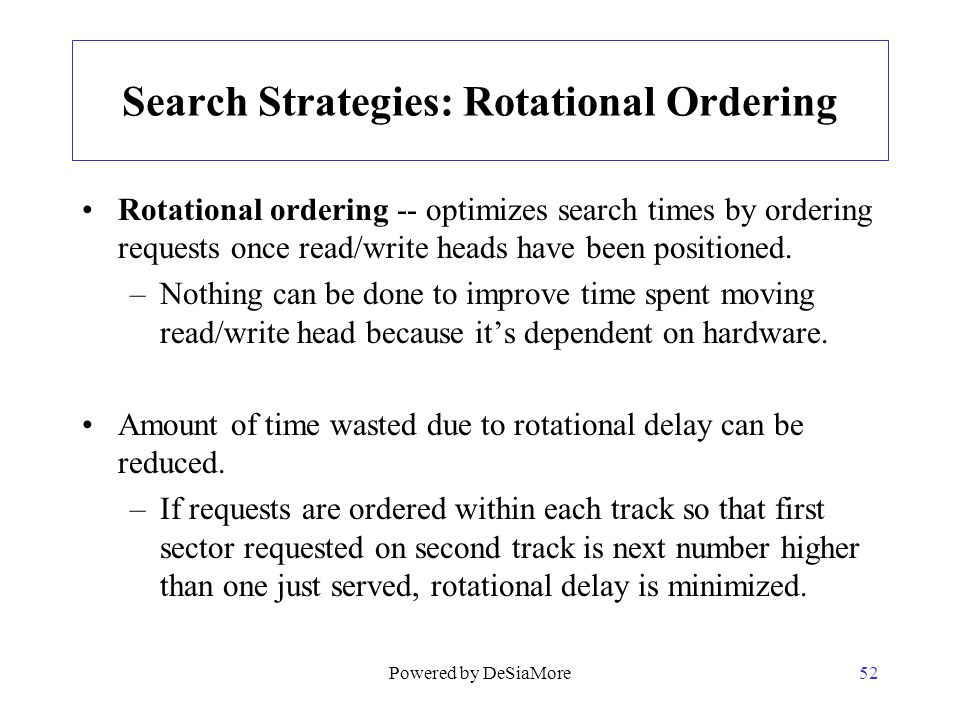 Search Strategies: Rotational Ordering
