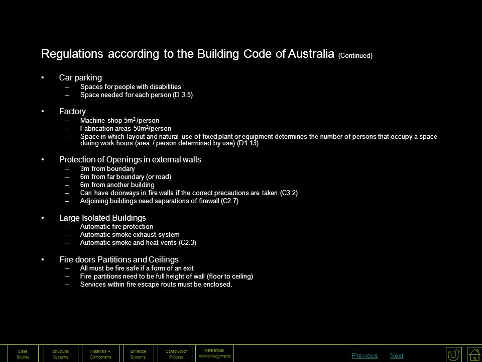 Regulations according to the Building Code of Australia (Continued)