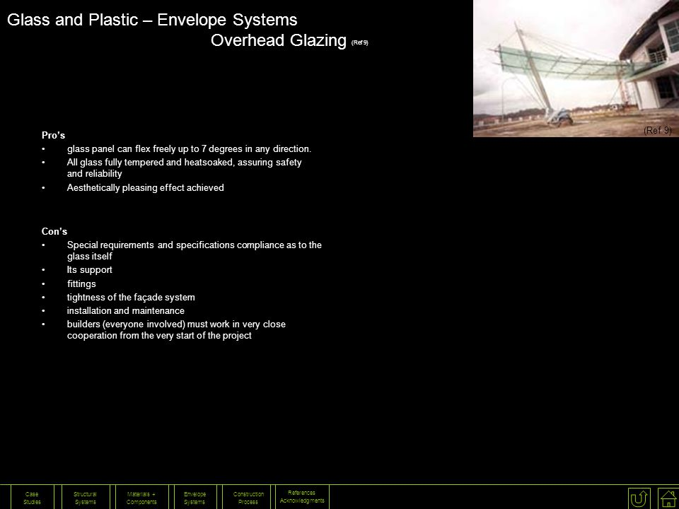 Glass and Plastic – Envelope Systems Overhead Glazing