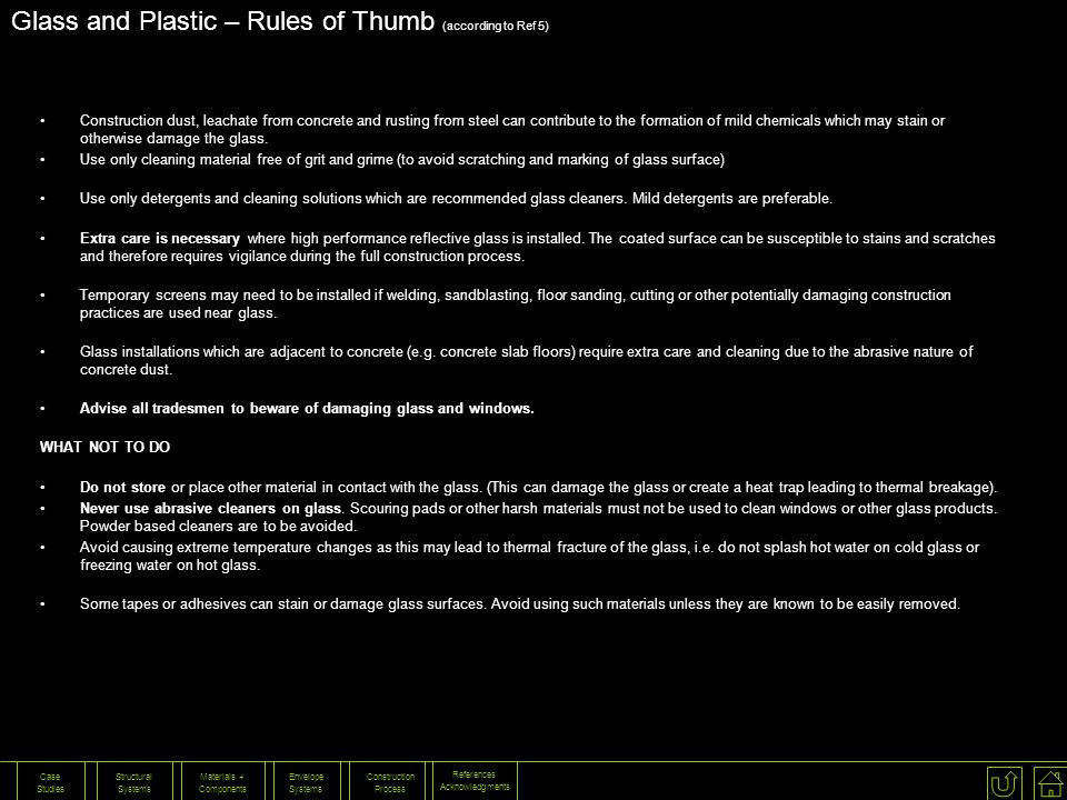 Glass and Plastic – Rules of Thumb (according to Ref 5)