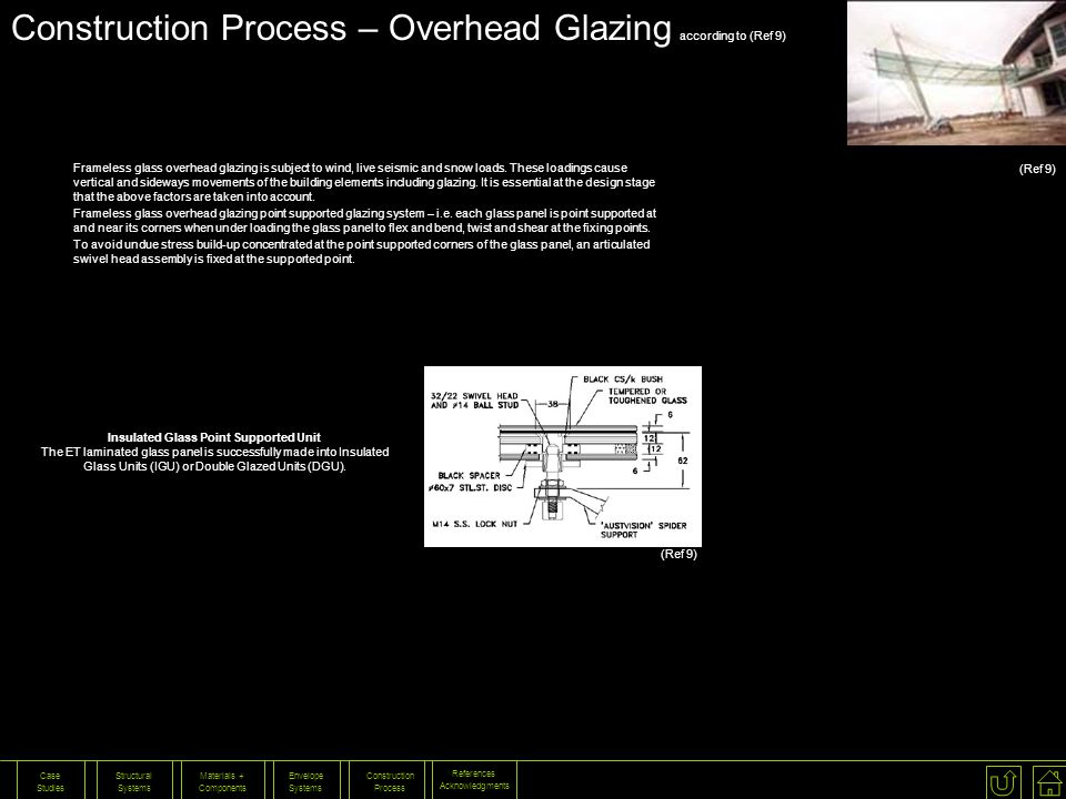 Construction Process – Overhead Glazing according to (Ref 9)