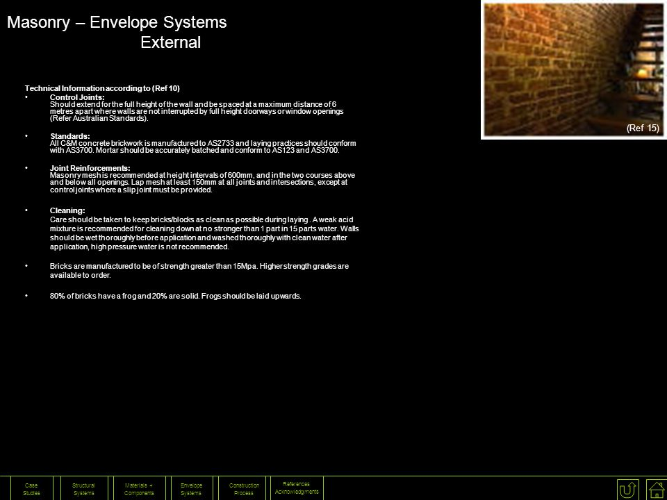 Masonry – Envelope Systems External