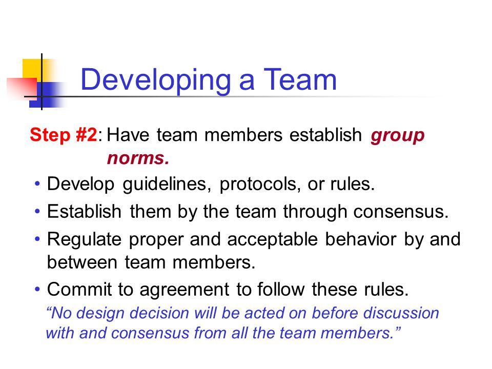 Developing a Team Step #2: Have team members establish group norms.