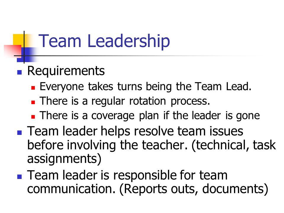 Team Leadership Requirements