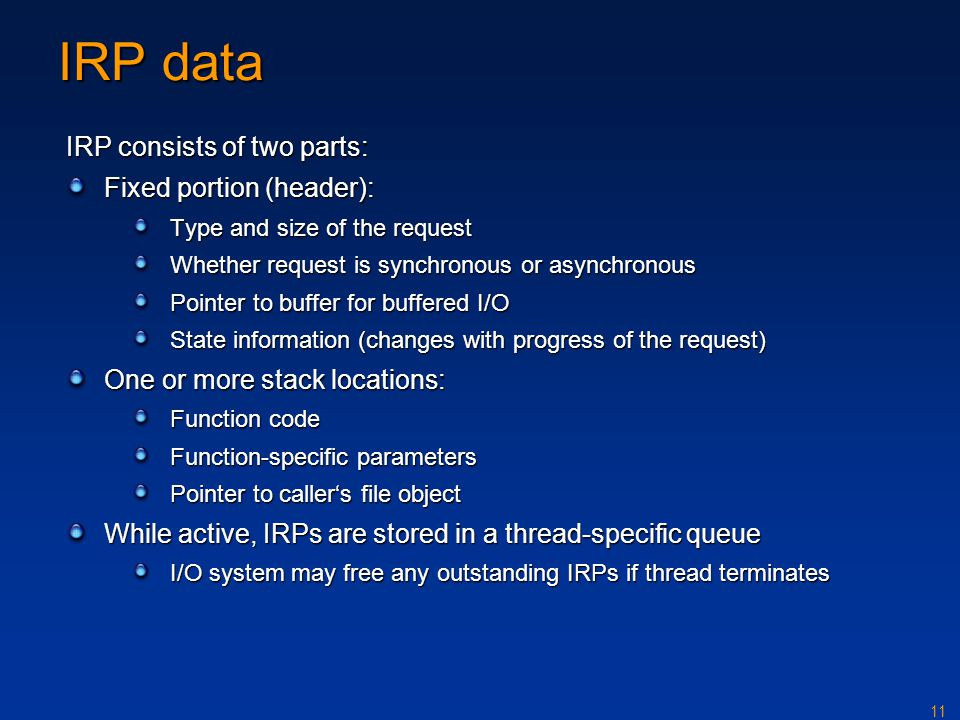 IRP data IRP consists of two parts: Fixed portion (header):