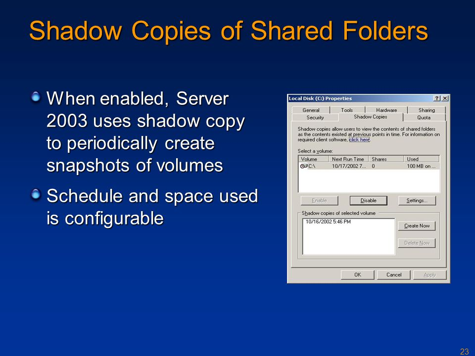 Shadow Copies of Shared Folders