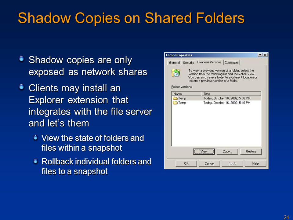 Shadow Copies on Shared Folders