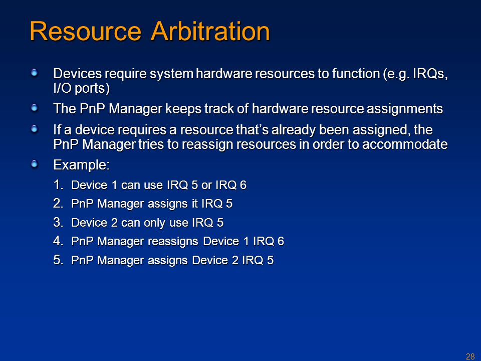 Resource Arbitration Devices require system hardware resources to function (e.g. IRQs, I/O ports)