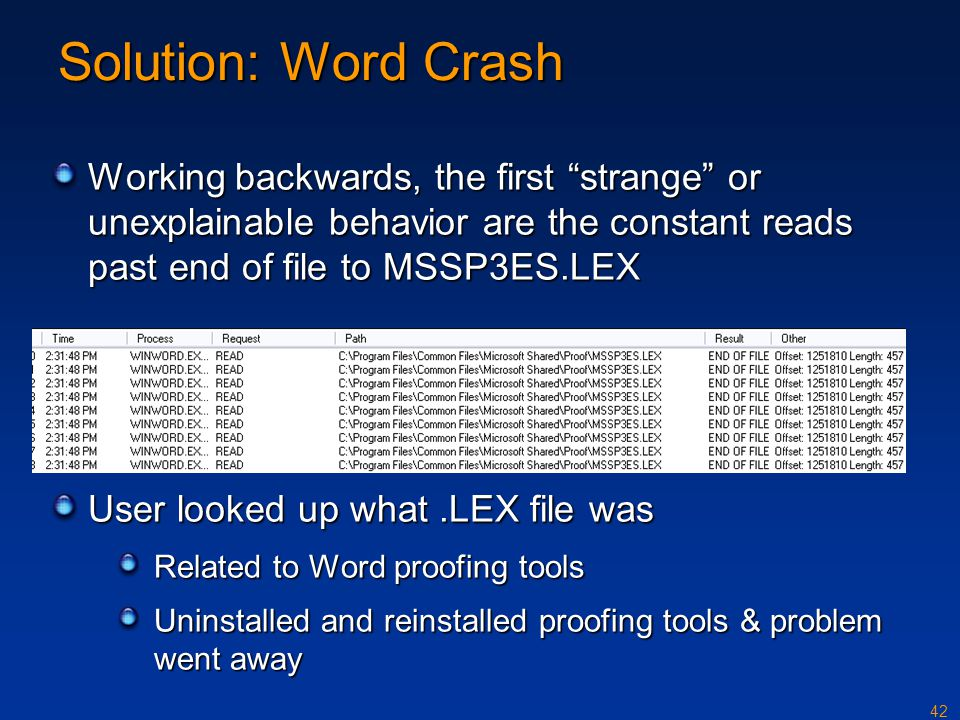 Solution: Word Crash Working backwards, the first strange or unexplainable behavior are the constant reads past end of file to MSSP3ES.LEX.