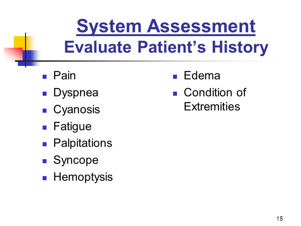 System Assessment Evaluate Patient's History