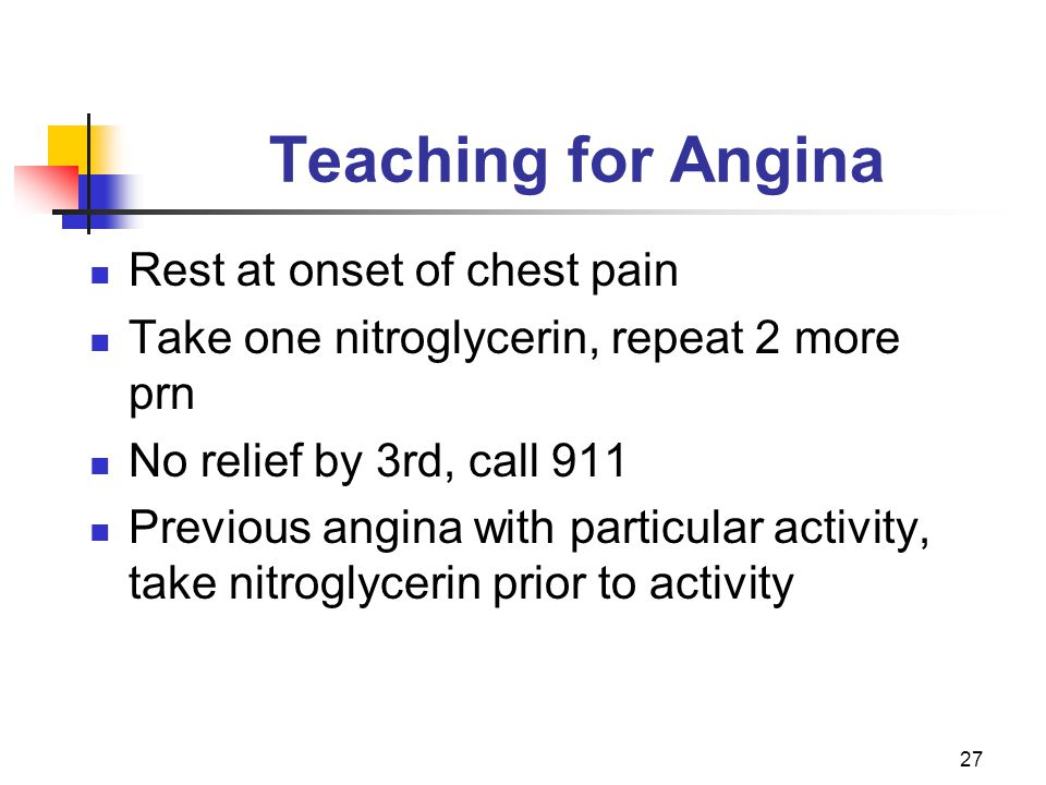 Teaching for Angina Rest at onset of chest pain