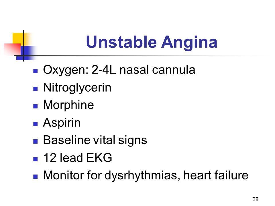 Unstable Angina Oxygen: 2-4L nasal cannula Nitroglycerin Morphine