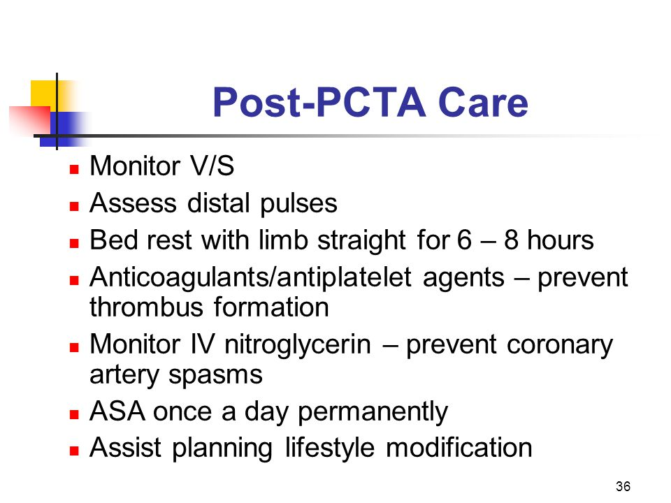 Post-PCTA Care Monitor V/S Assess distal pulses