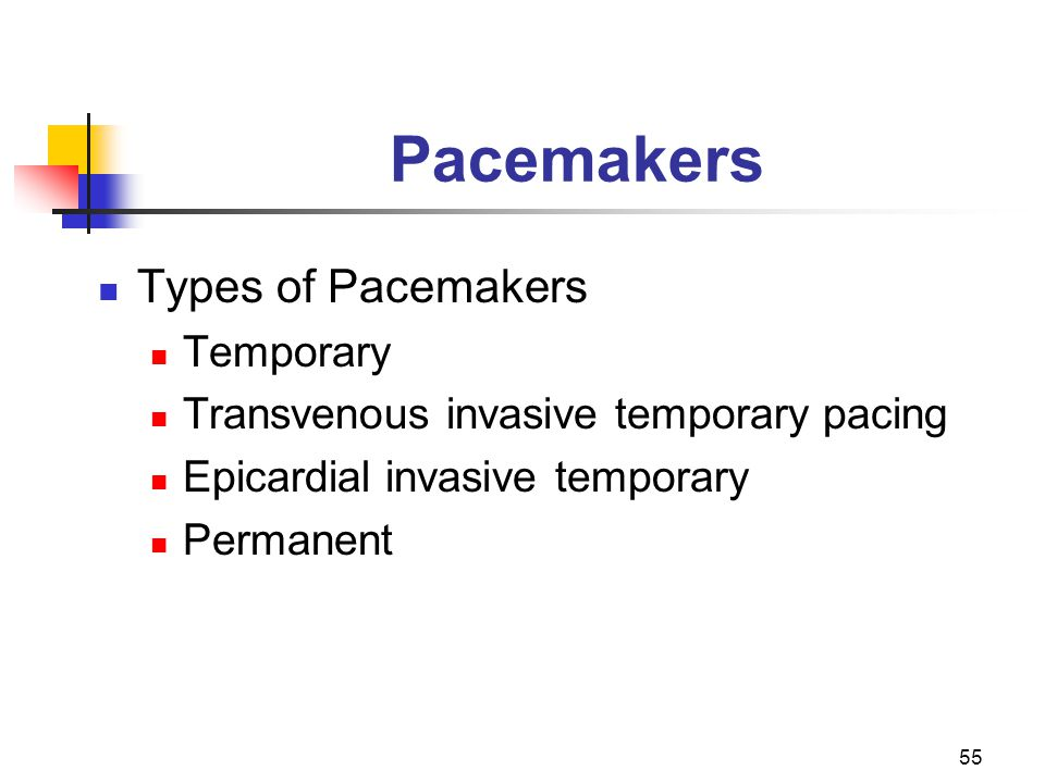 Pacemakers Types of Pacemakers Temporary