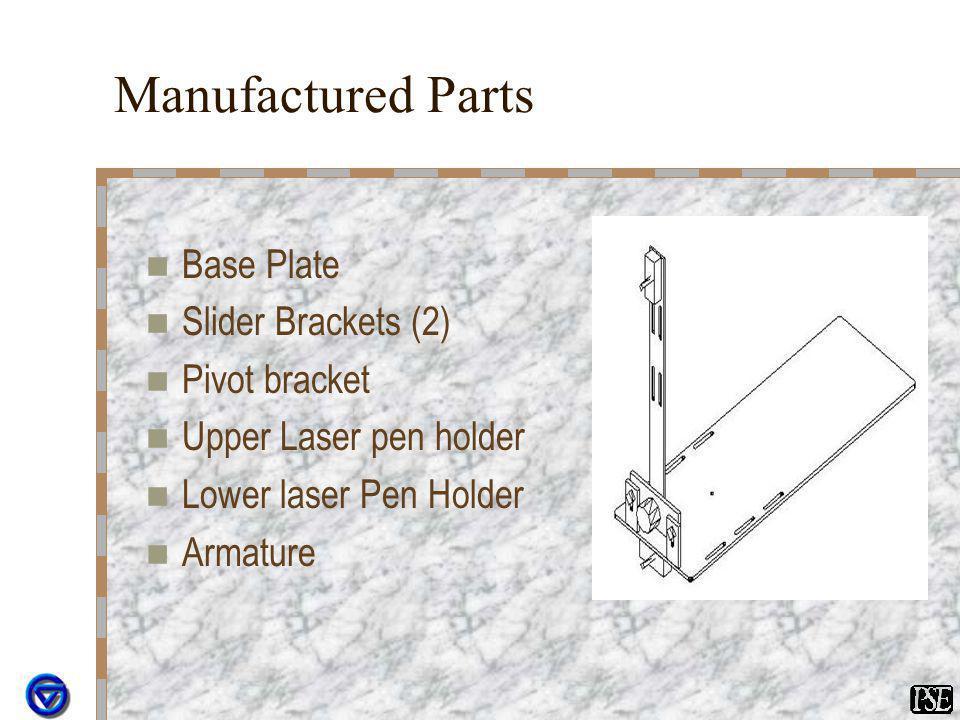 Manufactured Parts Base Plate Slider Brackets (2) Pivot bracket