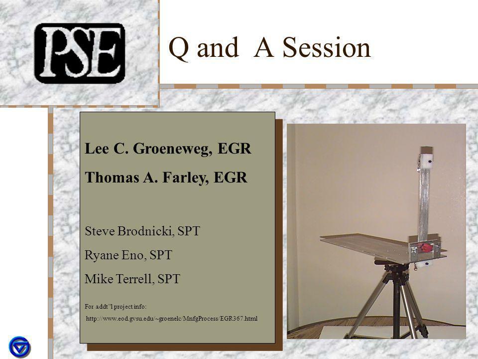 Q and A Session Lee C. Groeneweg, EGR Thomas A. Farley, EGR