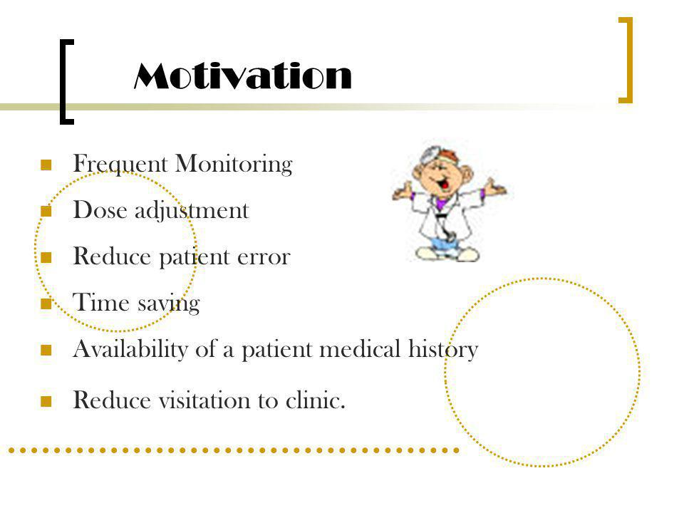 Motivation Frequent Monitoring Dose adjustment Reduce patient error