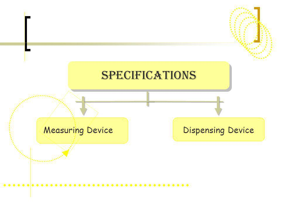 Specifications Measuring Device Dispensing Device