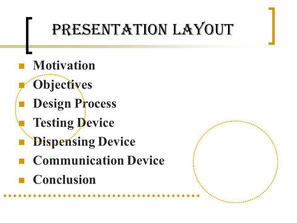 Presentation Layout Motivation Objectives Design Process