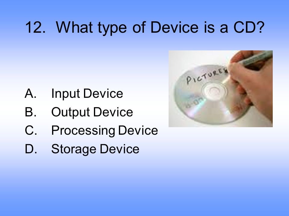 12. What type of Device is a CD