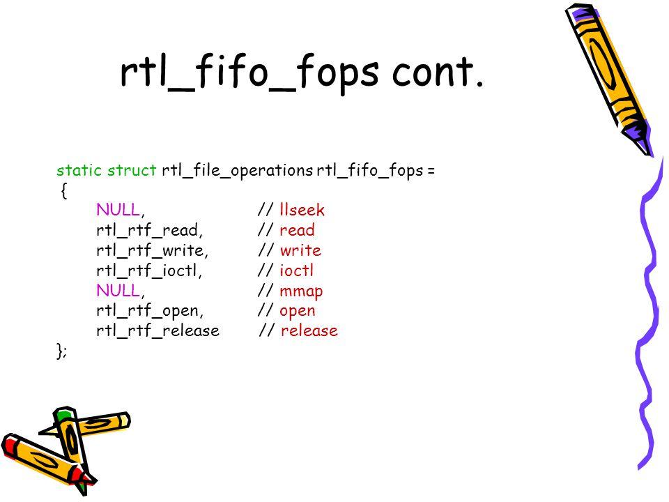 rtl_fifo_fops cont. static struct rtl_file_operations rtl_fifo_fops =