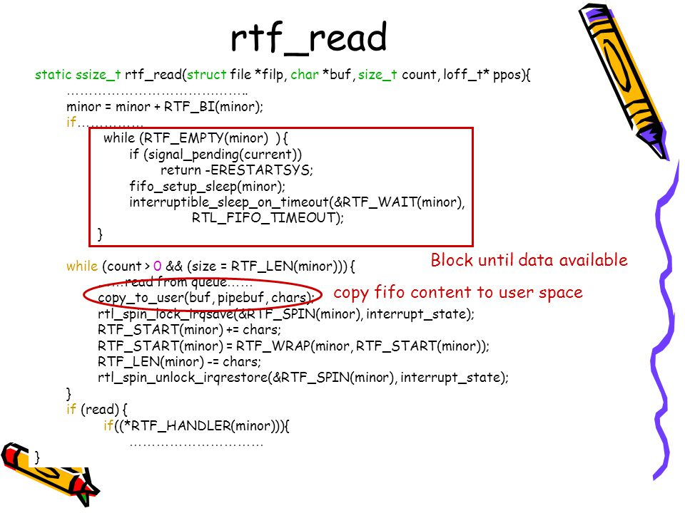 rtf_read Block until data available copy fifo content to user space