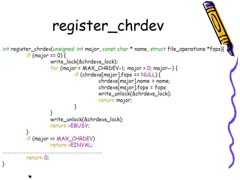 register_chrdev int register_chrdev(unsigned int major, const char * name, struct file_operations *fops){