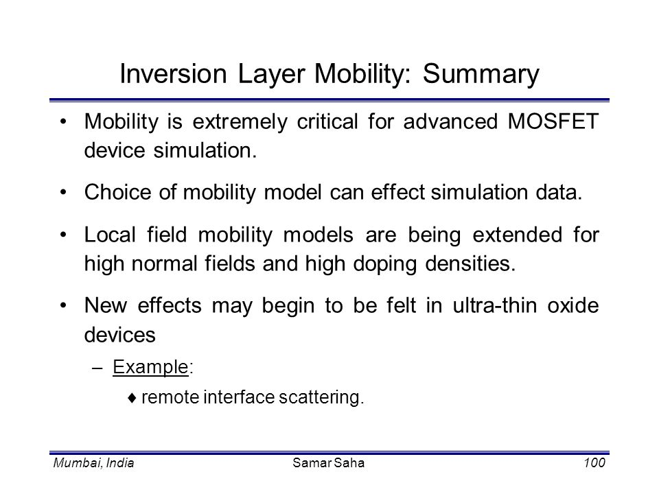 Inversion Layer Mobility: Summary