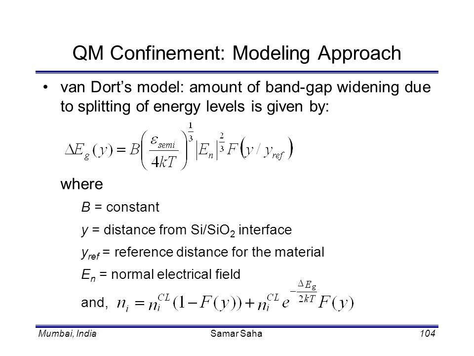 QM Confinement: Modeling Approach
