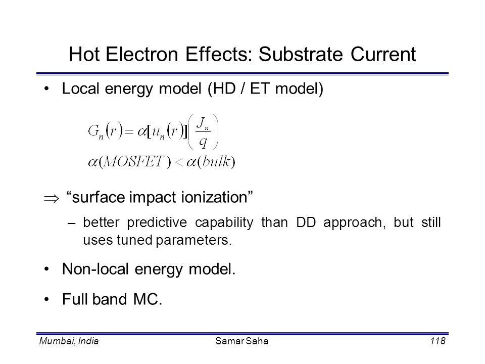 Hot Electron Effects: Substrate Current