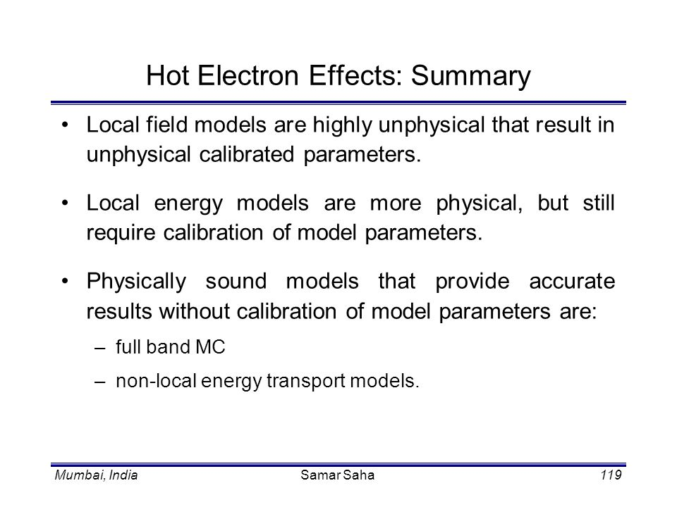 Hot Electron Effects: Summary