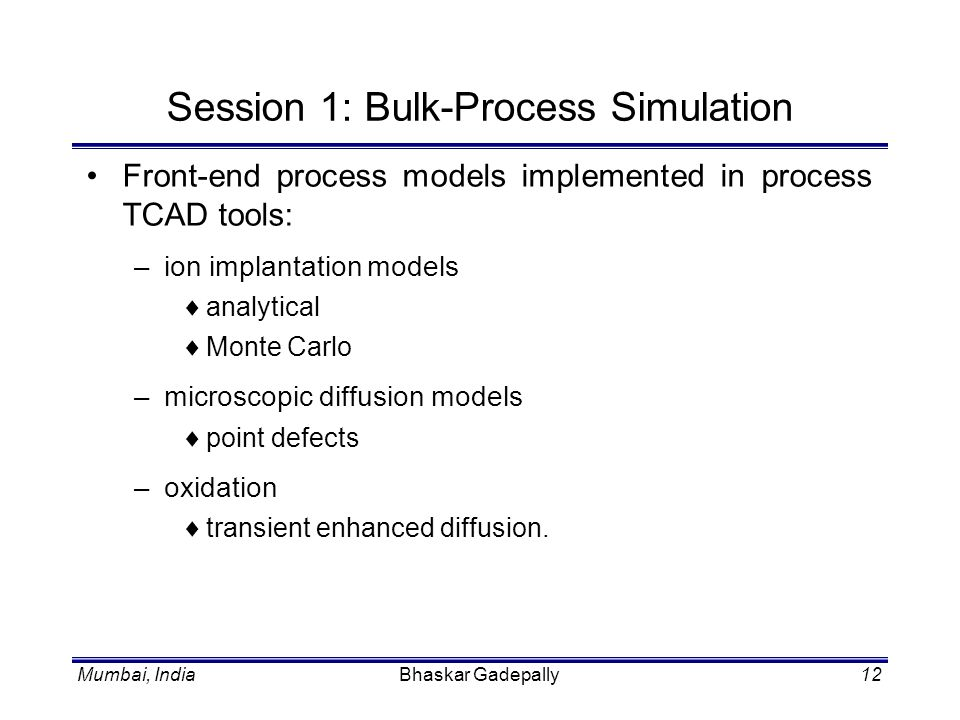 Session 1: Bulk-Process Simulation