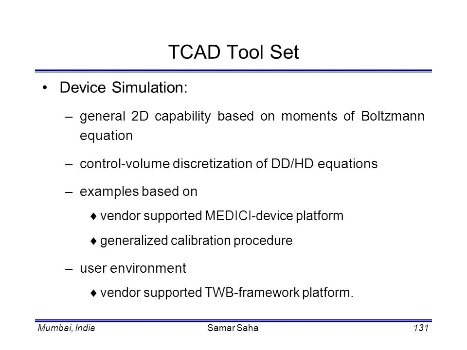 TCAD Tool Set Device Simulation: