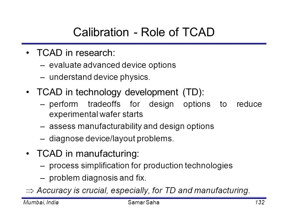 Calibration - Role of TCAD