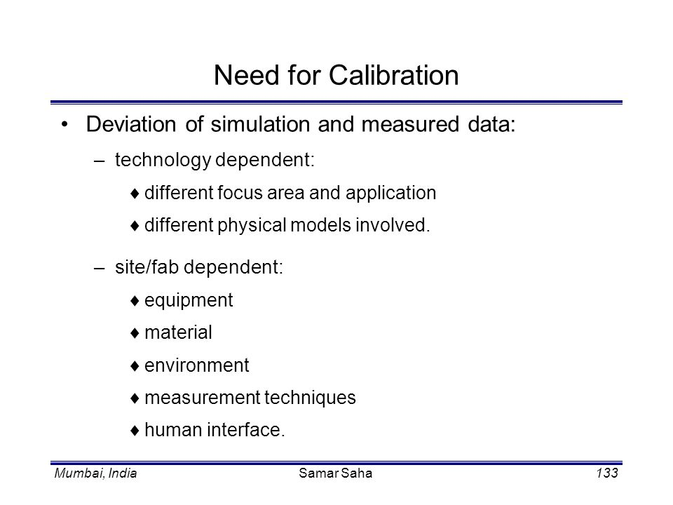 Need for Calibration Deviation of simulation and measured data: