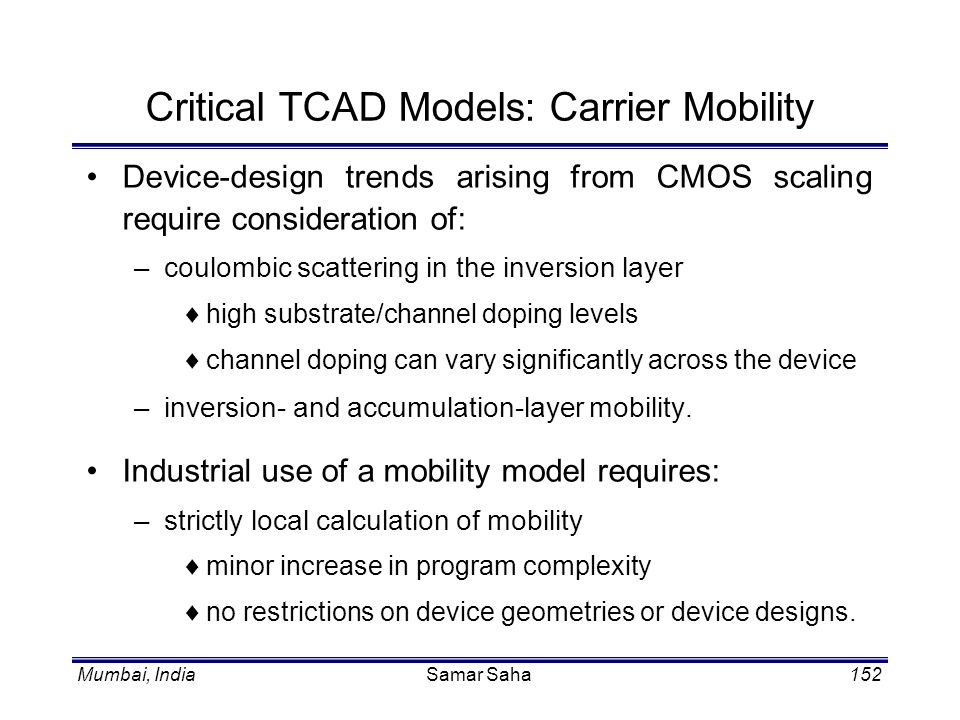Critical TCAD Models: Carrier Mobility
