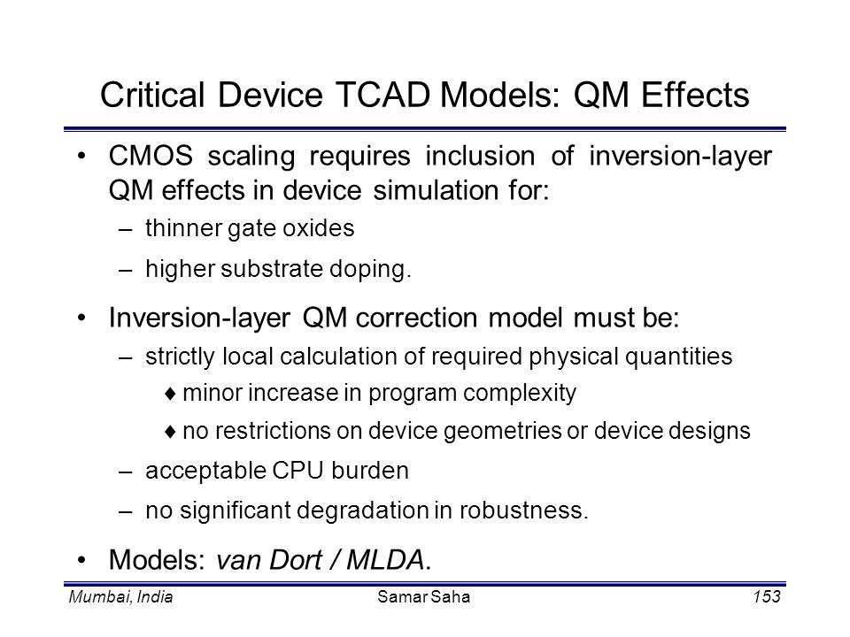 Critical Device TCAD Models: QM Effects