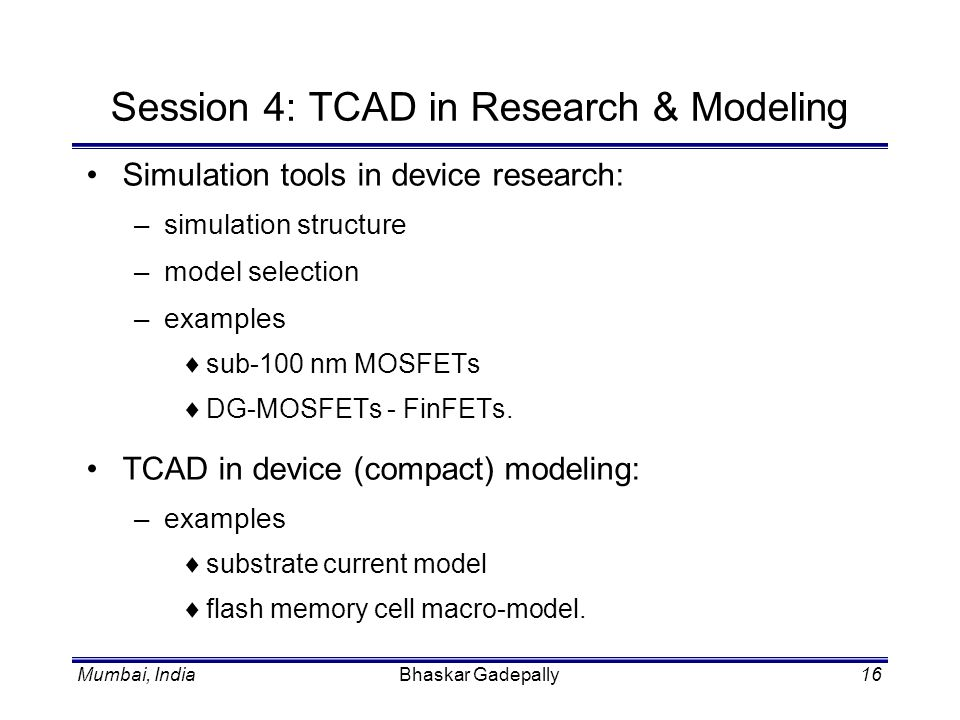 Session 4: TCAD in Research & Modeling