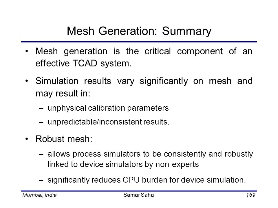 Mesh Generation: Summary