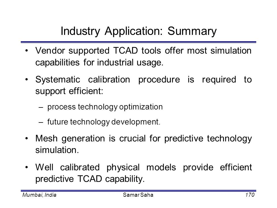 Industry Application: Summary