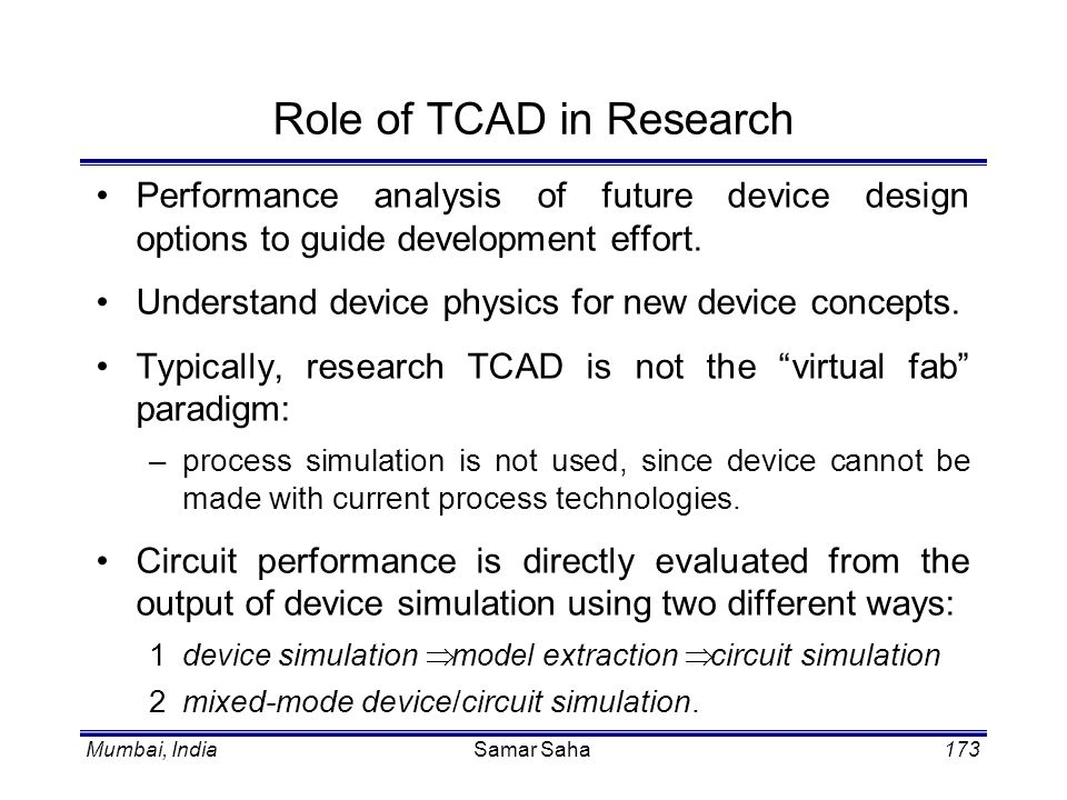 Role of TCAD in Research