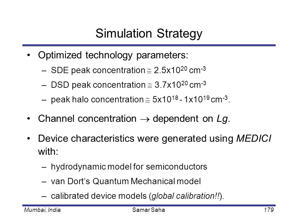 Simulation Strategy Optimized technology parameters: