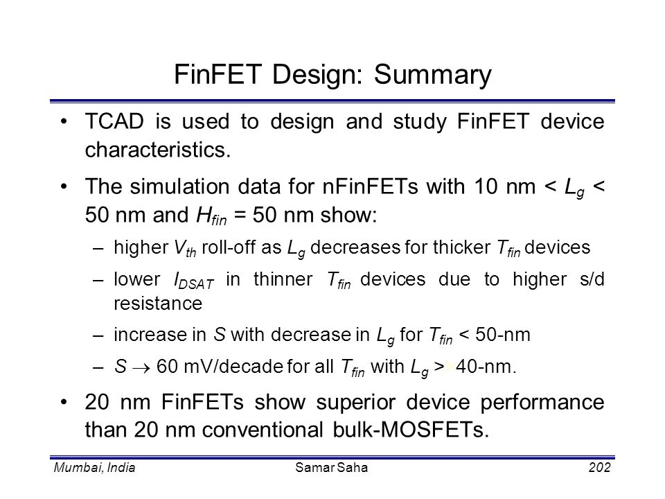 FinFET Design: Summary