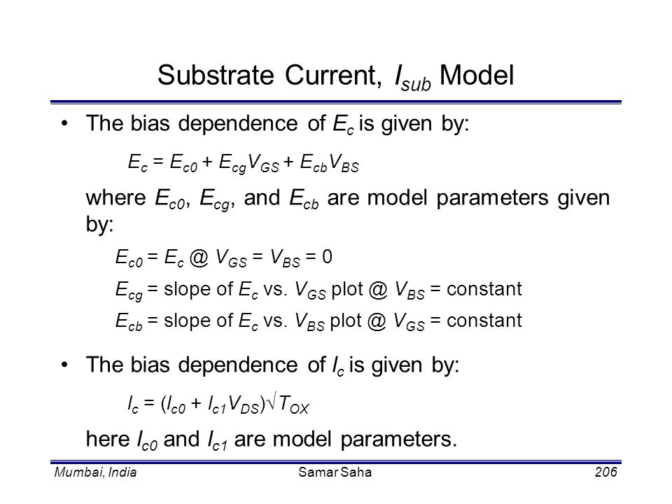 Substrate Current, Isub Model