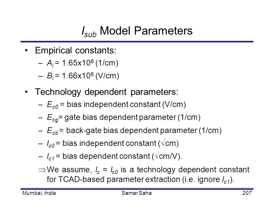 Isub Model Parameters Empirical constants: