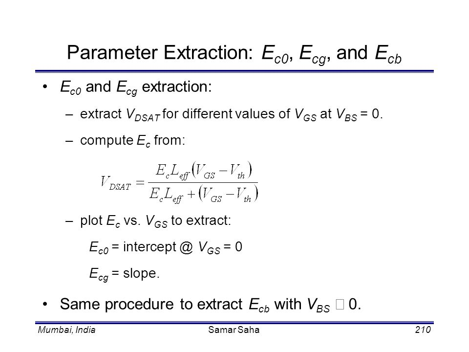 Parameter Extraction: Ec0, Ecg, and Ecb