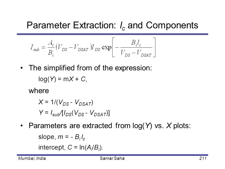 Parameter Extraction: lc and Components