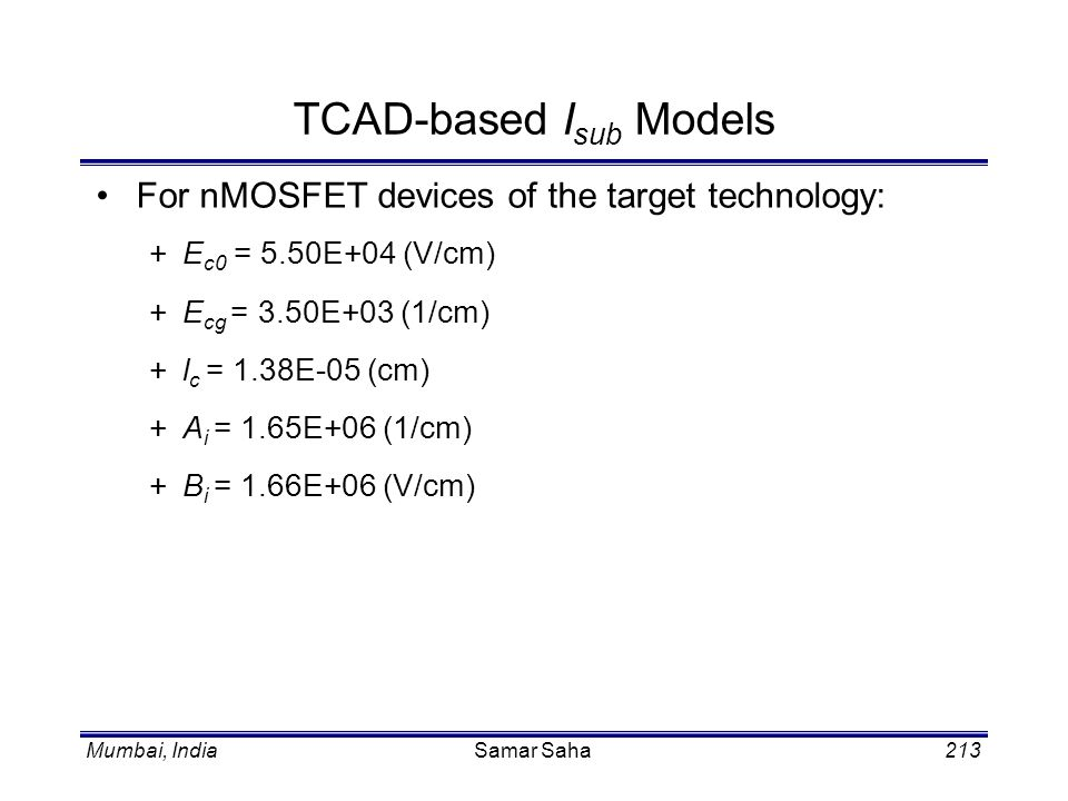 TCAD-based Isub Models
